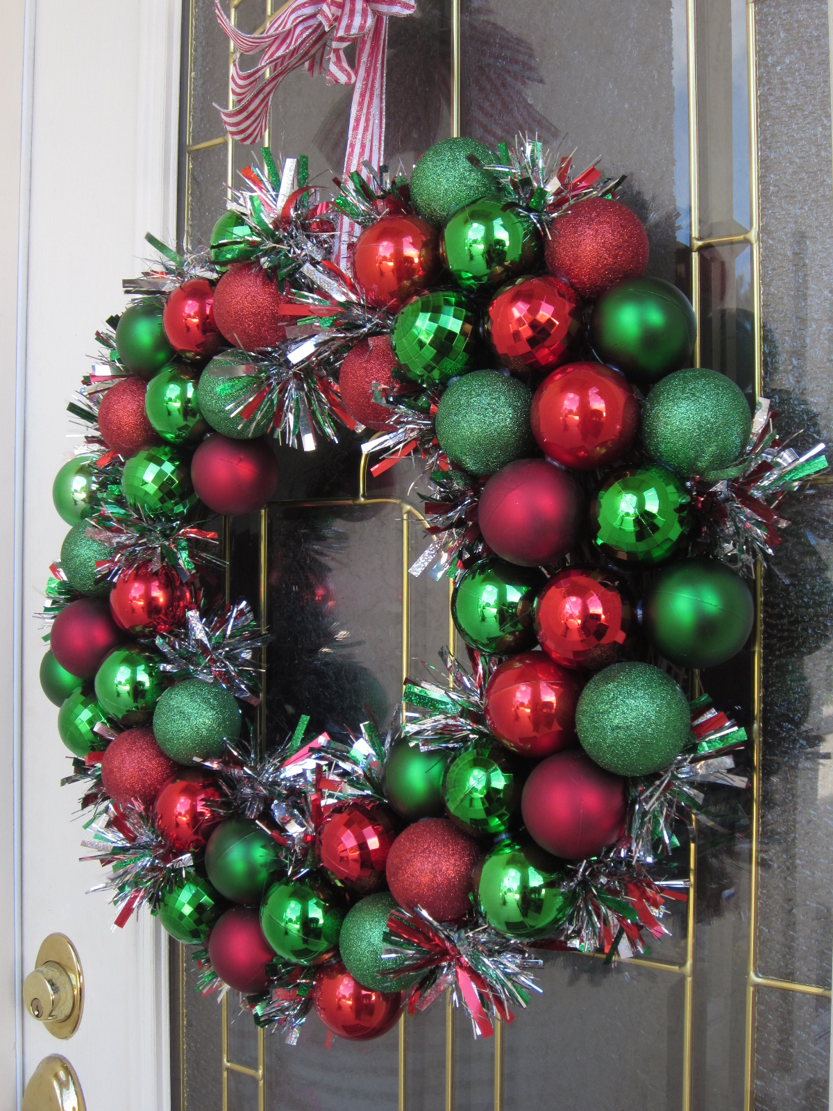 Sparkly christmas wreath nest handmade for Door garland christmas
