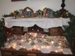 Great Grandma gave us her rolltop desk this year - it's the perfect place for the Nativity and gingerbread village.