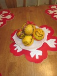 Traditional Christmas pomanders - doesn't everyone have a smiley face and a spaceship?